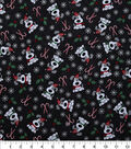 Christmas Cotton Fabric-I Woof You on Black with Glitter Snowflakes