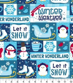 Super Snuggle Flannel Fabric-Let It Snow Patchwork