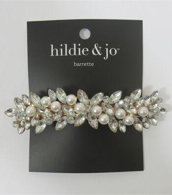 hildie & jo Gold Barrette-Pearls & Flower Rhinestones