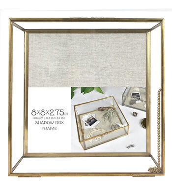 Metal & Glass Shadow Box Frame with Linen Lining 8''x8''-Brass
