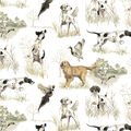 Super Snuggle Flannel Fabric-Realistic Dogs Running