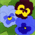 RIOLIS Create it Yourself Longstitch Embroidery Kit-Three Pansies