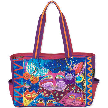 """Laurel Burch Oversized Tote 20.5""""X5.5""""X15"""" Cats With Butterflies"""