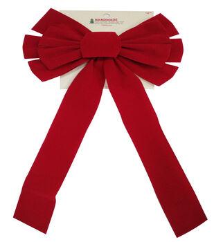 Handmade Holiday Christmas 10''x22'' Velvet Bow-Red