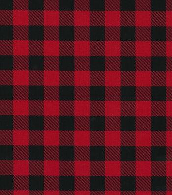 """Christmas Cotton Fabric 43""""-Red Buffalo Check"""