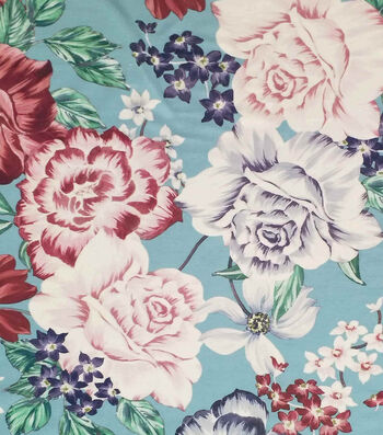 "Silky Stretch Satin Fabric 55""-Aqua Big Floral Textured"