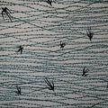 Asian Inspired Premium Cotton Print Fabric -Bird & Teal Vines