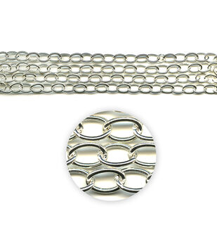 """Blue Moon Beads Metal Chain 14x10mm, Assorted, Silver-42"""""""