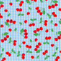 Novelty Cotton Fabric-Cherries on Gingham Blue