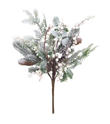 Blooming Holiday Christmas Frosted Pinecone, Pine & Berry Bush