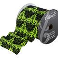 Cascade Textured Toile Satin Ribbon 4\u0022x15 yds-Flocked Pattern on Green