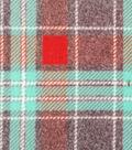 Luxe Fleece Fabric -Mint & Rust Plaid
