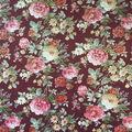 Scuba Knit Fabric-Foiled Floral on Burgundy