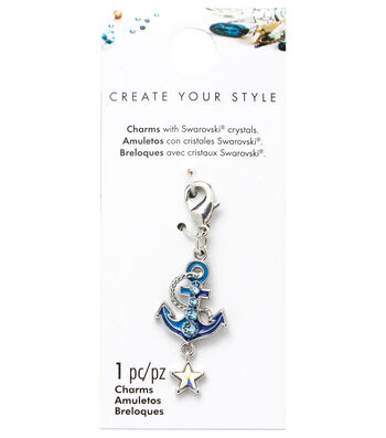 Swarovski Create Your Style Anchor Charm-Blue Crystals
