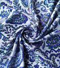 Stretch Chiffon Fabric -Blue & Purple Folk