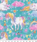 Anti-Pill Plush Fleece Fabric-Unicorns on Teal