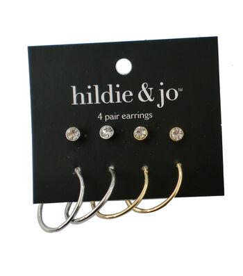 hildie & jo 4 Pack Gold & Silver Earrings-Crystal