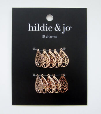 hildie & jo 10 pk Filigree Teardrop Charms-Copper