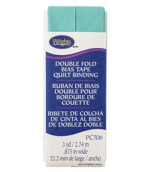 Wrights Double Fold Quilt Binding Bias Tape 7/8''x3 yds-Aquamarine