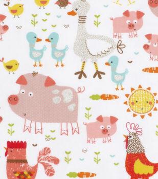 Super Snuggle Flannel Fabric-Happy Farm Animals