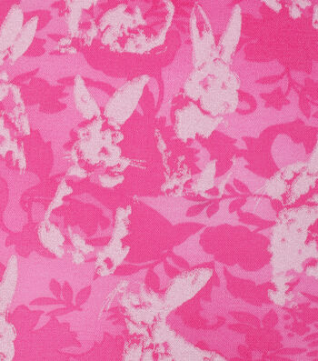 Easter Cotton Fabric -Tonal Bunnies Pink Pearlized