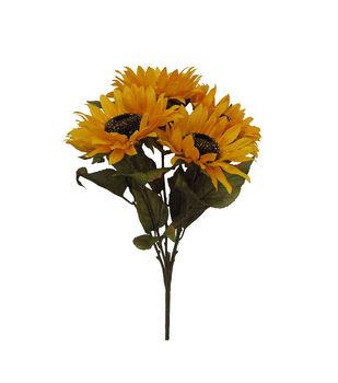 Blooming Autumn 20'' Sunflower Bush with Glittery Center-Yellow