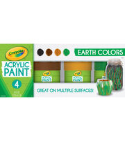 Crayola Acrylic Paint Set 4oz 4/Pkg-Earth, , hi-res