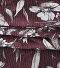 Silky Chiffon Fabric-Sketchy Floral on Burgundy
