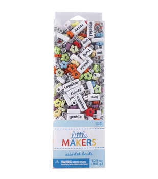 Little Makers 5.29 oz. Assorted Beads-Alphabet & Words on Multi