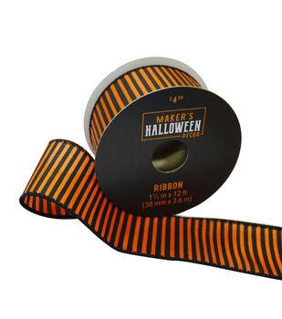 Maker's Halloween Decor Ribbon 1.5''x12'-Orange & Black Stripes
