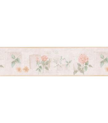Rose & Letters Wallpaper Border, Cream