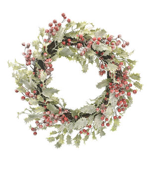 Handmade Holiday Christmas Frosted Holly & Red Berry Wreath