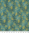 Asian Inspired Cotton Fabric 43\u0022-Metallic Floral Vines on Teal