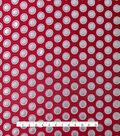Fashion Brocade Metallic Dot Fabric -Tango Red & Silver