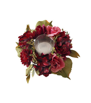 Blooming Autumn Frosted Peony & Rose Candle Holder-Burgundy