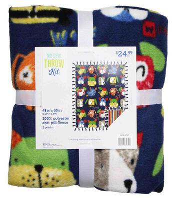 No Sew Fleece Throw 48''x60''-Dog Faces