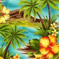 Shirting Fabric -Teal Tropical