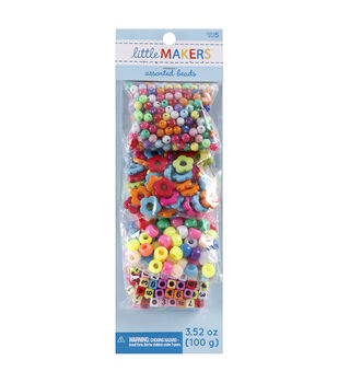 Little Makers 3.52 oz. Assorted Beads-Alphabet on Multi