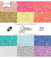 DCWV Pack of 24 6''x6'' Cardstock Stack-Glitter, , hi-res
