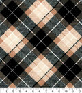 Snuggle Flannel Fabric-Black Tan Bias Plaid