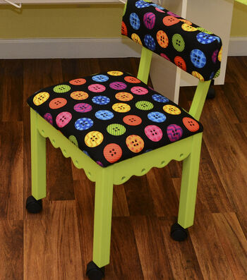 Arrow Green Sewing Chair with Scalloped Base-Buttons on Black