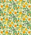 Keepsake Calico Cotton Fabric-Watercolor Flowers Orange
