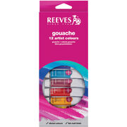 Reeves Gouache Watercolor Assorted Colors 12 Per Pack, , hi-res