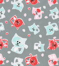 Snuggle Flannel Fabric -Stamped Cats on Gray