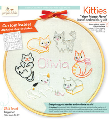 "Penguin & Fish Embroidery Kit 7"" Round Stitched in Floss-Kitties"