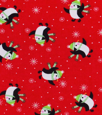"Snuggle Flannel Fabric 42""-Happy Penguins On Red"