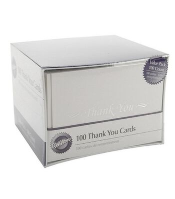 Wilton 100ct Thank You Cards and Envelopes-White