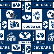 Brigham Young University Cougars Fleece Fabric 58''-Block, , hi-res