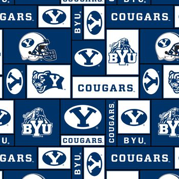 Brigham Young University Cougars Fleece Fabric -Block