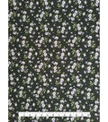 Modern Vintage Stretch Crepe Fabric-Purple Floral on Black